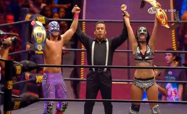 Lady Maravilla y Villano III Jr. son los nuevos campeones en parejas mixtas de AAA en Triplemania 27