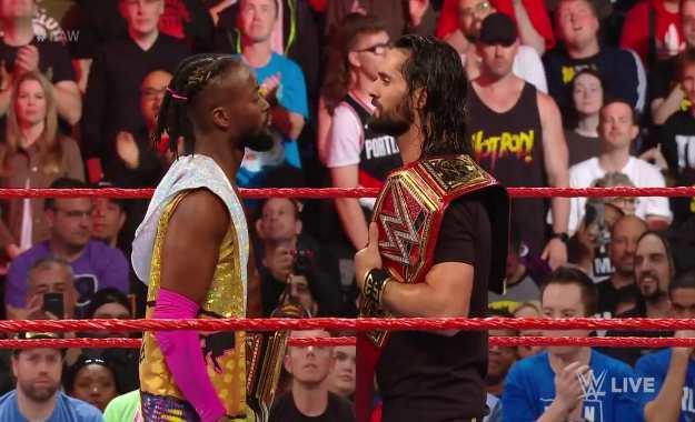 WWE RAW Seth Rollins vs Kofi Kingston title vs title